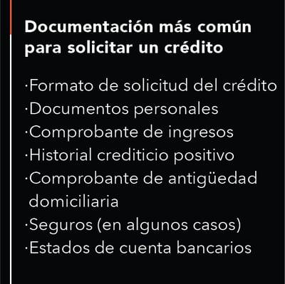 documentación para solicitar un crédito